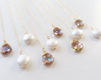 Set of SIX Crystal Lariat necklaces, Y necklaces for bridal parties, bridesmaid gift set, bridesmaid jewelry, crystal wedding necklaces