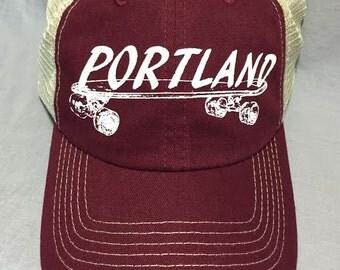 Maroon,  Trucker Hat, Skateboard, Portland, Hipster, Weird