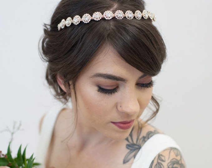 Rose Gold Bridal Headband, Bridal Crystal Headband, Rose Gold Wedding Headband, Art Deco Headband, Bridal Headband, Crystal Headpiece