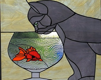 Cat and the Fishbowl Stained Glass Window