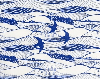 Two sheets of 'Hills and Dales' silkscreen handprinted paper, printed in blue on cream