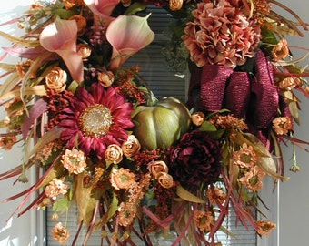 Fall Wreath Extra Large Fireplace Decoration Front Door Wreath Luxe Thanksgiving Floral Grapevine Pink Calla Lilies Pumpkin Sunflower