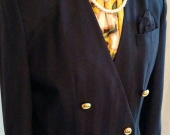 Clearance** VINTAGE SUIT BLAZER, Jacket, Couture, 1980 To 1990, Double Breasted, Navy Blue, Retro, Chic, Size 10, Business Jacket, Preppy