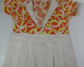Vintage Clothes Pin Bag Dress Holder White Orange and Yellow Mod Boomerang Laundry Clothesline Fresh 1960s