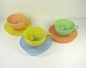 Vintage RAiNBOW PASTEL COFFEE Cup & SAUCER Set/3 Fire King Fired On Color