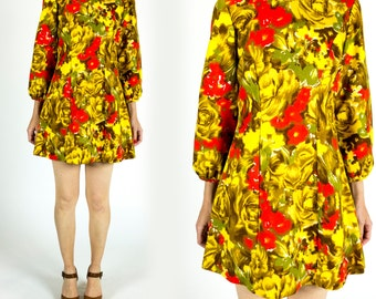 Vintage 1970s Psychedelic Acid Yellow Coral Olive Green Bright Floral Puff 3/4 Sleeve Mini Flutter Dress Size XS Extra Small