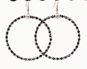 Large Hoop Earrings Metallic Silver and Black Glass Beads