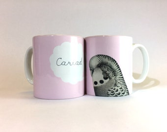 New Cariad  Welsh Love Pink Bird Budgie Ceramic Mug 11oz