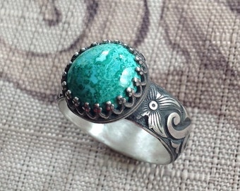 Eilat Gemstone Ring, Sterling Silver, Ring Size 7, Metalsmith Jewelry, Hand Forged Jewelry, Artisan Jewelry, SRAJD, Gemstone Jewelry, Rings