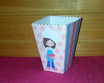 12 Baking Party Popcorn Boxes - Snack Boxes  - Mini Favor Boxes