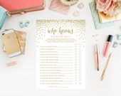 Instant Download - Confetti Shower Who Knows the Bride Game Cards