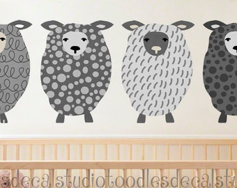 Sheep Art Fabric Wall Decal - Reusable Wall Decals - 4 Decals - Ready to Hang Boys Art - Sheep Nursery Art - Boys Sheep Fabric Stickers