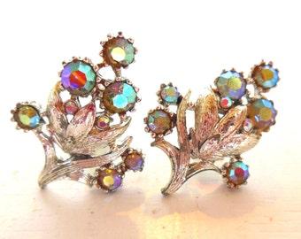 Vintage Coro Aurora Borealis Silver Clip Earrings Flowers 50s (item 214)