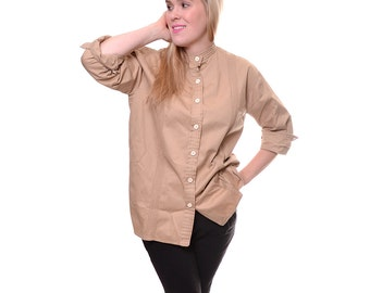 Valentino Boutique tan women's tunic blouse / 1970s banded collar shirt / tan button down designer shirt / size 12