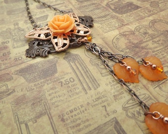 Steampunk Victorian Orange Rose Necklace with a Dangle of Acrylic leaves
