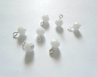 White Faceted Opaque Rondelle Dangle Beads