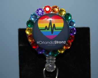 Retractable Badge Holder #Orlando Strong Pulse Orlando Fundraiser with Acrylic Rhinestones Alligator or Belt Clip by Hot Headz