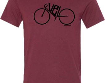 Bicycle T-Shirt-VELO-Modern Road Bike Tee-Cardinal-Bicycle Tshirt,Road Bike t-shirt, bike gift, cycling tshirt, gifts for cyclists,for him