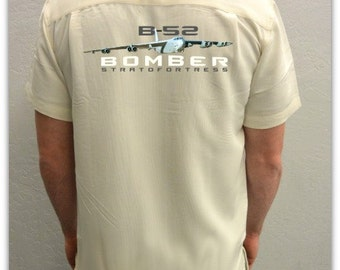 Men's Airplane Shirt -B-52 Stratofortress-Cold War-Aviation Shirt in Ivory-Airplane Gift