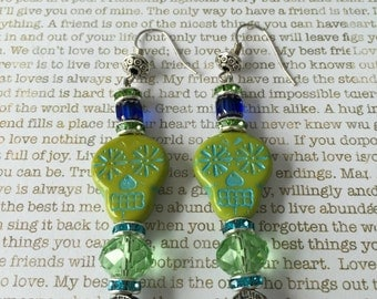 Sugar Skull Earrings Made With Czech Crystals In Green and Blue With Fancy Green Crystal Beads and Rhinestones Seahawks Inspired
