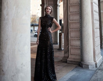 Black Lace Sequin Gown High Collar Victorian