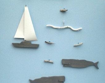 Whales & Sailboat Mobile,D30,Wood,Gray,Garden Art,Folk Art, Kinetic,Mobile,Sea Life Mobile,Ocean Mobile, Nautical,Ocean Art,Whale Mobile