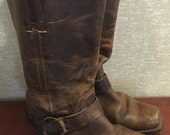 Vnt Frye Harness Distressed Brown Leather Womens 9 Engineer Boots