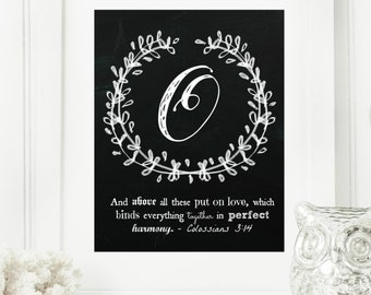 "Instant ""Family Monogram Scripture"" Chalkboard Wall Art Print 8x10 Typography Letter ""O"" Printable Home Decor, & Binder Cover"