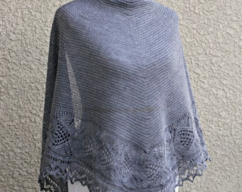 Knit shawl, wedding shawl, bridesmaids shawl in grey color lace shawl, knitted wrap gift for her