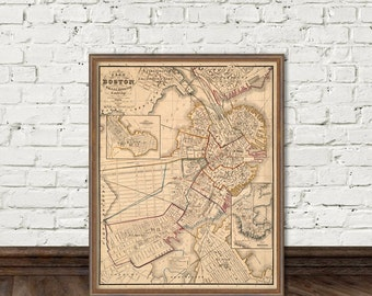 Old map of Boston -  Large vintage map - Boston map restored - Archival print