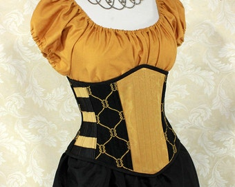 "Badger Wizard House Inspired Steampunk Black & Gold Steel Boned Waspie Corset - Corset Size 32, Fits Waist 35""-37"" - Ready to Ship"