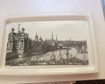 Rare Vintage Corning ware serving tray with wood and metal holder with handle Swedish seaport Sweden MCM cool
