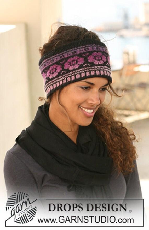 Women's Fair Isle Flower Headband Head Wrap Alpaca Sheep
