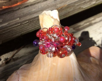 Charm Ring, Glass Beads, Aluminum Roses, Faux Pearls, Wire Wrapped, Silver Plated Brass, Silver Filled, Adjustable, Raspberry Red, Pink