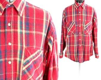 Vintage Retro Red Boyfriend Oversized Plaid Flannel Longsleeve St. Johns Bay