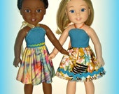 "Choose Your Style! Halter Top Sun Dress, Turquoise Blue Multicolor, Handmade to fit 14.5"" Dolls such as Wellie Wishers from American Girl"