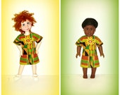 "Handmade Doll Clothes ""Kente Dress"" fits 19 inch Trinket Box Kids BJD by Kimberley Arnold and 18 inch Dolls such as American Girl"