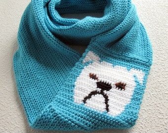 Bulldog Infinity scarf. Turquoise blue knit scarf with English bulldogs. Long cowl scarf