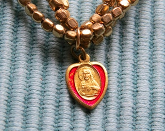 Vintage Jesus Sacred Heart Italian Medal and Gold Toned Stretchy Bracelets- Protection that you need everyday
