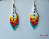 Native American Style Beaded Indian Colorful Feather Earring in Turquoise, Red, White Southwestern, Brick Stitch, Gypsy, Ready to Ship