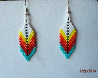 Native American Style Beaded Indian Colorful Feather Earring in Turquoise, Red, White Southwestern, Brick Stitch, Gypsy, Gift Ready to Ship