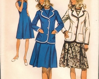 Classic Uncut Vintage 1970s Simplicity 9866 Inverted Pleat A-line Dress and Braid Trimmed Blazer Jacket Sewing Pattern B36