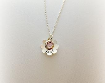 Flower Girl Jewelry Personalized -  Flower Girl Necklace -Custom kids Jewelry - Girls Birth Stone Jewelry -Boutique Kid's - The Charmed Wife