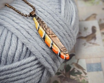 tiger boho style pendant, orange feather pendant, nature inspired enameled copper feather, bohemian, gift for her, copper jewelry
