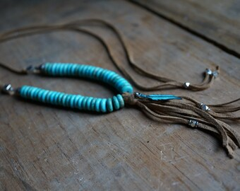 Leather Tassel Necklace - Turquoise Bead Necklace - Boho Necklace - Native American Feather Necklace - Turquoise and Leather Necklace