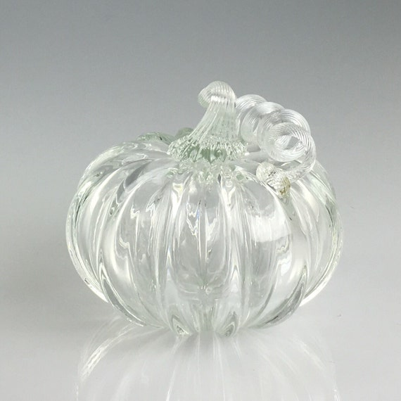 "4"" Glass Pumpkin by Jonathan Winfisky - Transparent - Hand Blown Glass"