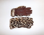 Vintage real sheepskin and leather dyed leopard print pattern spotted ladies gloves