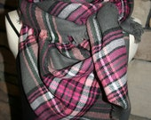 Plaid Tartan Blanket Scarf Pink and Gray Plaid Scarf Christmas Gift Scarves Zara Style Plaid Fall Favorite-Pre-sale-Monogramming Avail