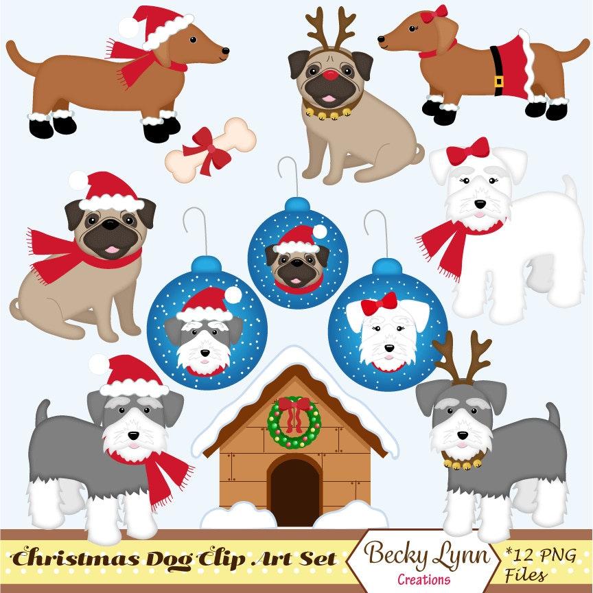 Christmas Dog Clip Art Set Christmas Clip Art Schnauzer