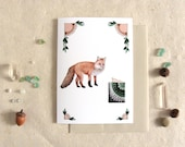 Critters and Cards: Fox // Blank Art Card // Forest Illustration